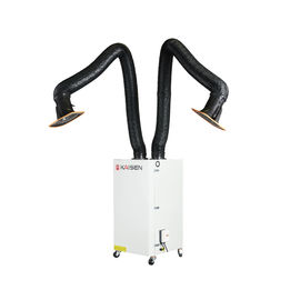 Two Arms Mobile Welding Smoke Extractor , Manual Cleaning Ash Welding Smoke Filters